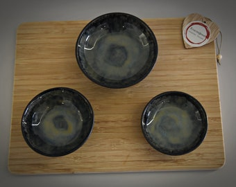 Set of 3 unique handmade tapas bowls/dishes/ceramics-stoneware (signed)