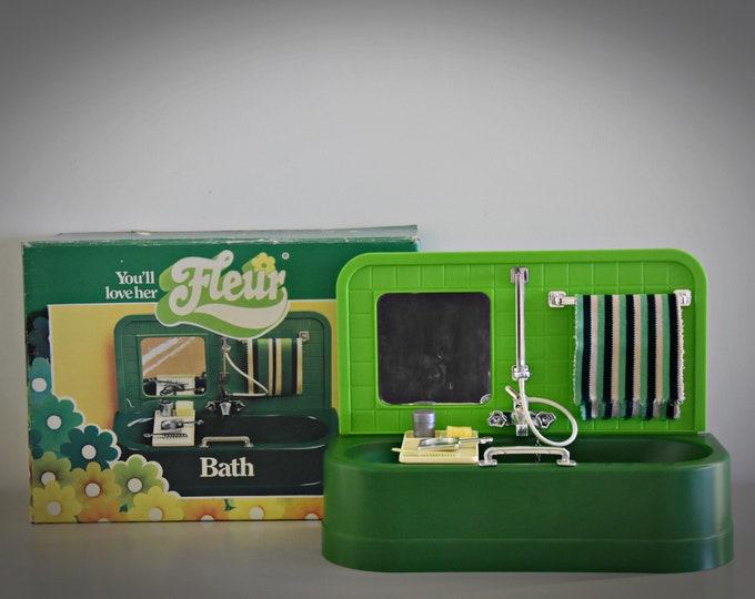 Vintage Fleur (Dutch Sindy) bath + accessories / original box / bathroom furniture / no. 385-2380