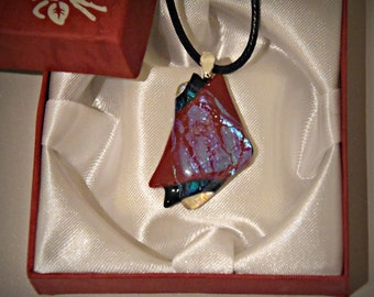 Dichroic glass pendant/glass jewel/tack-fuse/black-red-glare