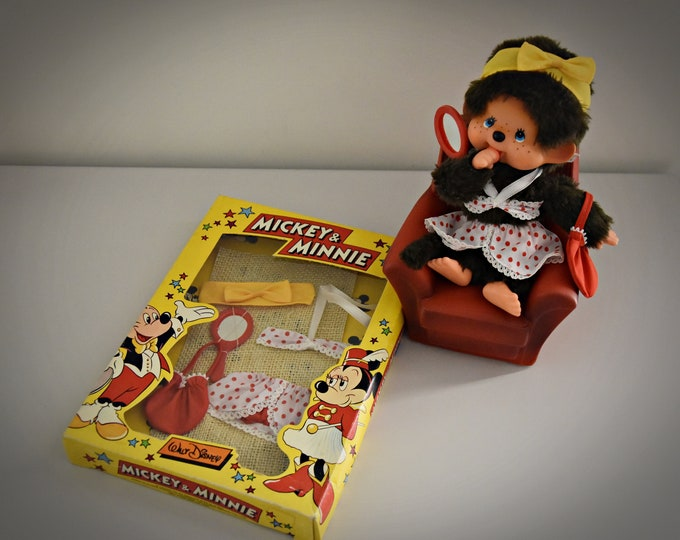 """Vintage outfit """" Minnie"""" / Bikini Minnie 3,740.922 / fits for Monchhichi - 23 cm / NRFB / 70s - 80s / Walt Disney / complete outfit"""