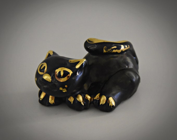 Unique vintage ceramic cat figurine / Romulus Renzo Verzolini / Italian Art / Questa Maiolica / singed