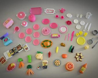 Vintage mix Barbie kitchen accessories / 70 pieces / beautiful addition collection Barbie / miniature