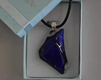 Dichroic glass pendant/glass jewel/tack-fuse/blue and purple sparkle