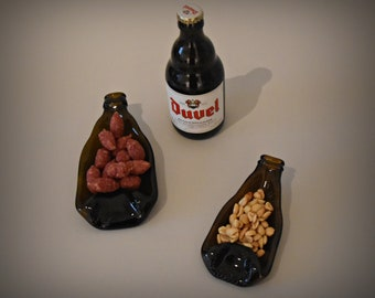 Slumped bottle/2 recycled Duvel bottles/serve dishes/decoration/aperitif bowls/tea light holder