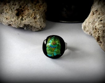 Adjustable dichroic ring/glass jewel/green dichroic glass with blue tones