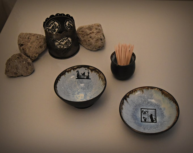 Set of 2 unique hand-turned tapas bowls/bowls + holder toothpicks with decal kitty-kitten/ceramic-stoneware