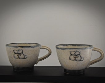 """Unique hand-turned ceramic Espresso bags / coffee bags / cup / stone goods / decal """"love bears"""" / signed / gift Valentine"""