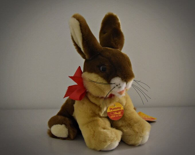 Vintage original Steiff Pummy / cute rabbit / Mohair / + button in earpiece, label and breast label / 5063/17 / Easter