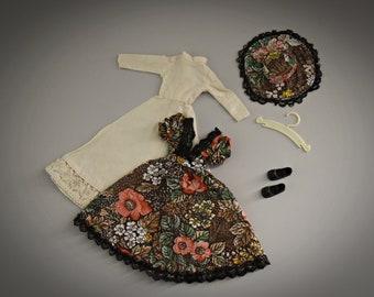 Romantic vintage outfit Sindy Pedigree Fair Lady / Dress - underdress - hat - brown shoes + coat coat / #44299 / Super Mode / 1980