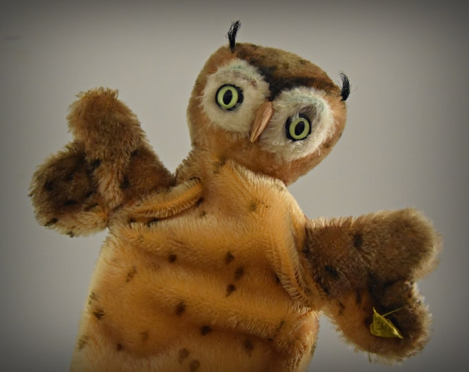 Vintage Steiff Handpuppet Owl/+ knob and label/Whitening/Mohair/NR 6710/17/Collector's item