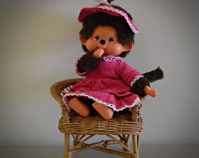 Very beautiful vintage Monchhichi ± 23 cm / Sekiguchi Japan / + Monchhichi fashion / girl with fantastic pink outfit