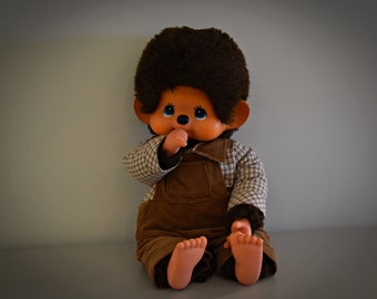 Very nice vintage Monchhichi 45 cm/Sekiguchi Japan 1974 + Beautiful outfit = Salopette + checkered camisole