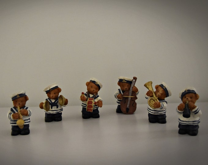 Vintage Miniature Figurines/6-piece set/musicians/sailor/bears/years 80