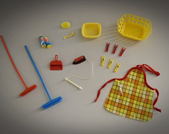 17 vintage accessories Sindy Pedigree / Mix Housework - Washday / # 44422 - # 44429 / beautiful addition collection Sindy / 1977 - 1978