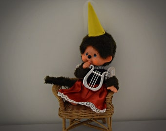 Very beautiful vintage Monchhichi ± 23 cm / Sekiguchi Japan / + Monchhichi fashion - beautiful Minnie Mouse Princess outfit / Walt Disney