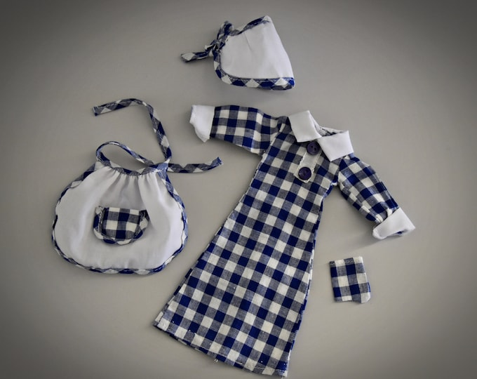 Nostalgic Vintage home outfit Fleur (Dutch Sindy) # 1253/Otto Simon/Fleur Fashion/blue-white