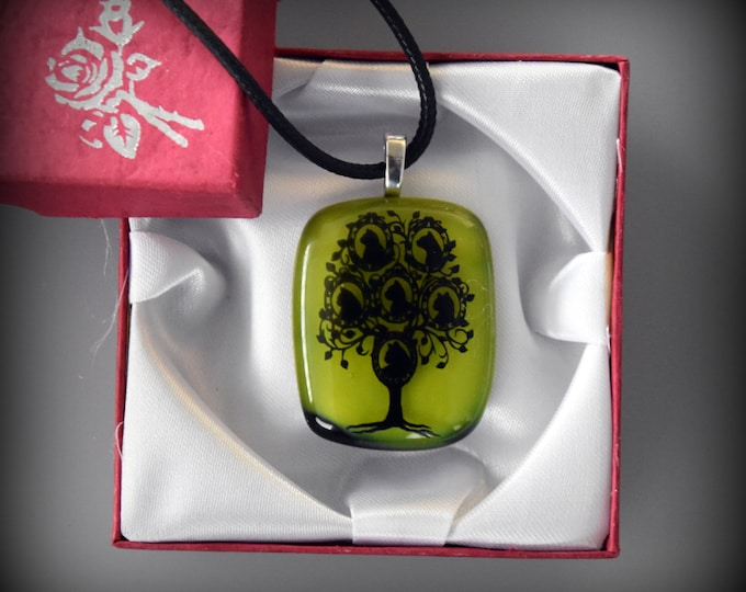 "Glass pendant ""cat-tree""/glass jewel/Lemon green"
