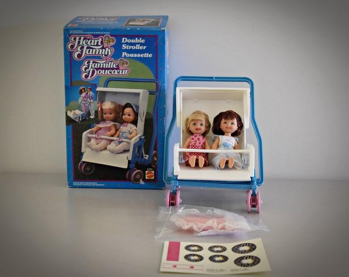 Vintage Mattel Double Stroller / The Heart Family / # 2293 / NRFB / 1985