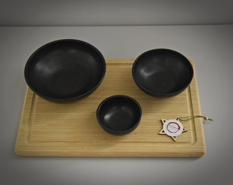 Set of 3 unique hand-turned tapas bowls / bowls / bowls / aperitif set / ceramic - stoneware (signed)