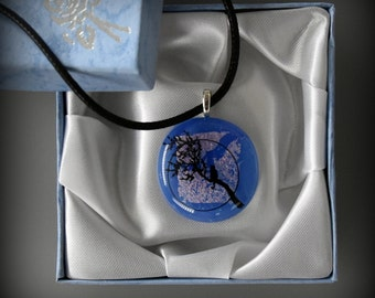 "Dichroic Glass pendant with decal ""cat in life-tree""/PAL-glass jewel"