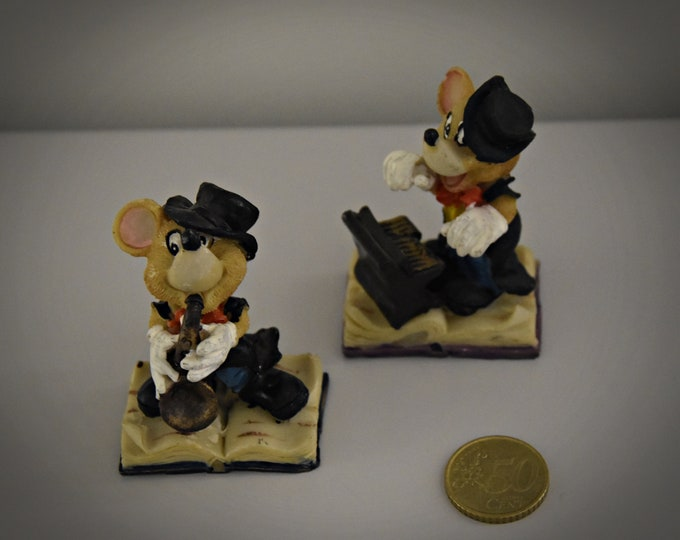Vintage Miniature Figurines/2-piece set/musicians/mice/Years ' 80