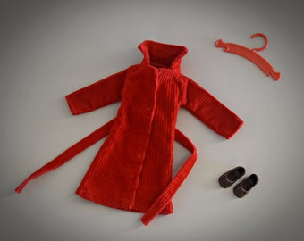 Very nice vintage jacket Sindy Pedigree + matching brown shoes with tassels and coat rack / Around Town / #44273 / 1978