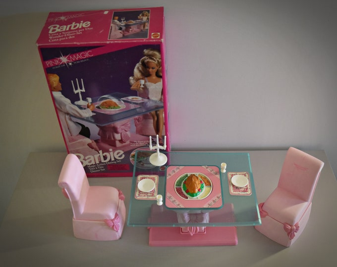 Rare Vintage Barbie Pink Magic Action Dining Set / #1774 /1991/+Original Accessories/Collectors Item/Made in Italy/Mattel