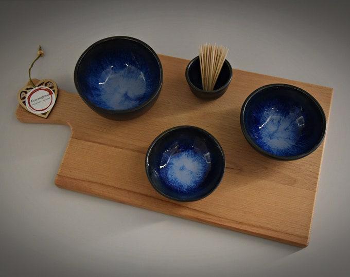 Set of 3 unique hand-turned tapas bowls + toothpick holder/bowls/ceramics-stoneware (signed)
