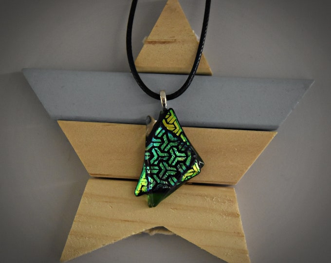 Dichroic glass pendant/glass jewel/green and fine blue brilliance/tack-fuse