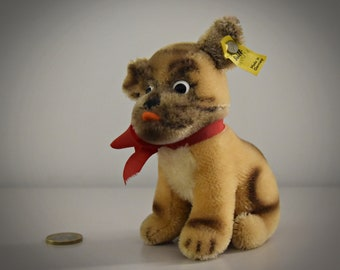 Vintage original Steiff Mopsy Dog/ # 4010/12 / cute doggy / Mohair / button in earpiece + label / Made in Germany