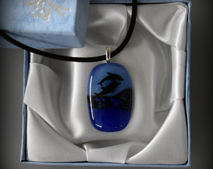 Dichroic Glass pendant with dolphins decal/glass jewel