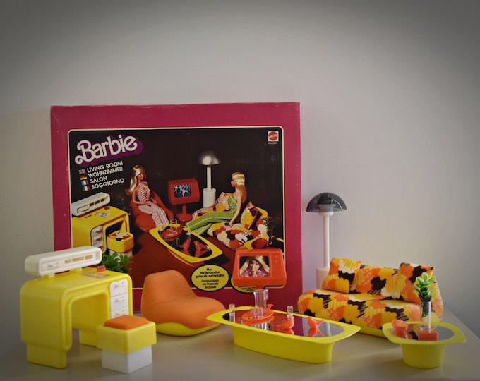 Vintage Mattel Barbie Living Room / # 2151 / 1977 / original box / + accessories / complete set / yellow version