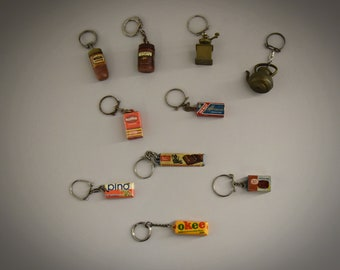 Vintage key rings / advertising / theme coffee, tea and chocolate / 1968 / advertising / set of 10 pieces
