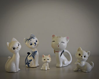 Set of 5 cute vintage miniature cats figurines/puffs/CAT/kitten/porcelain