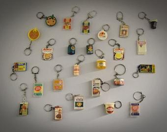 Vintage key rings / theme food / 1968 / advertising / set of 25 pieces