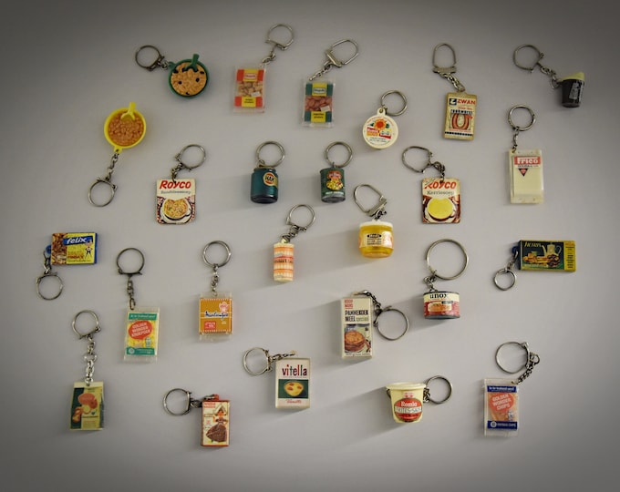 Vintage key rings / theme food / 1968 / advertising / set of 25 pieces