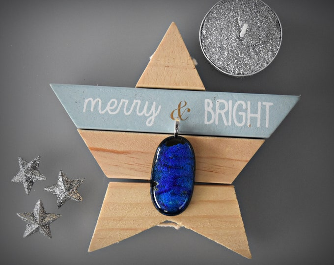 Dichroic glass pendant/glass jewel/cobalt blue sparkle