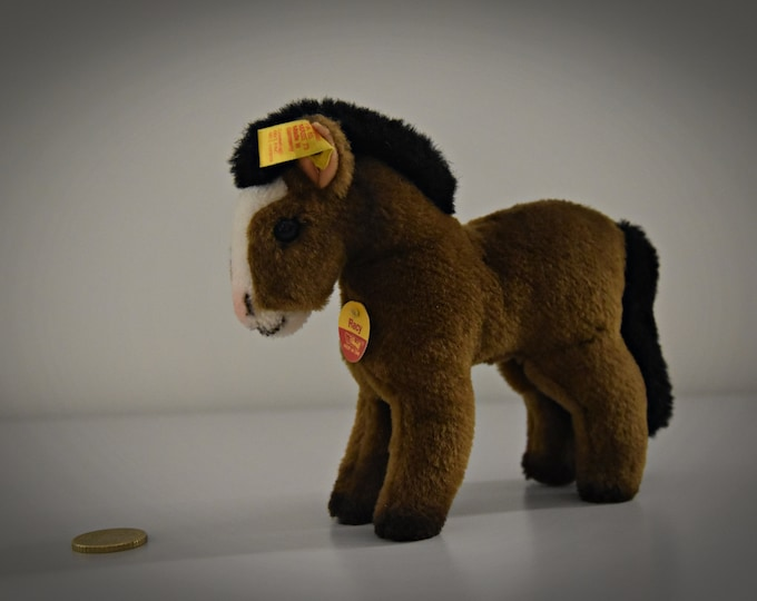 Vintage Original Steiff Pony Racy/Mohair/+ button in earpiece, label and chest label/1522/14/Brown/Collectors Item