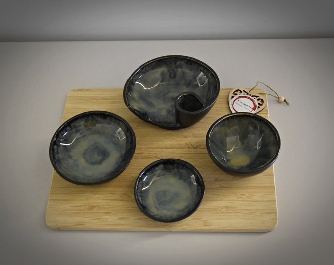 Set of 4 unique hand-turned tapas bowls (1 bowl with toothpick holder) / bowls / aperitif set / ceramic - stoneware
