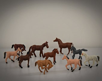 Vintage miniature Plastic horses/Set of 10 pieces/Craft supply/Made in Hong Kong/Collectors item/late years ' 60