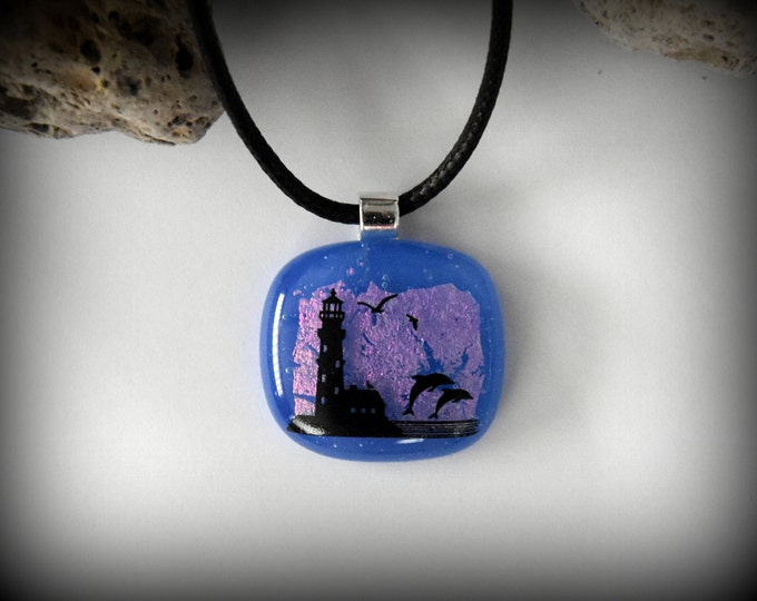 Dichroic Glass pendant with decal lighthouse and dolphins/glass jewel