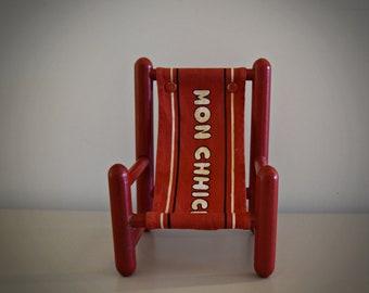 Vintage Monchhichi red chair / #104 / 1974 / Sekiguchi - Japan / Wood Series / Rare collectors item