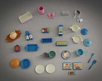 Vintage original Barbie accessories Dream Kitchen / 36 pieces / beautiful addition collection Barbie / #9119 / 1984