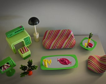 Vintage Mattel Barbie Living Room / # 2151 / 1977 / + original accessories / green version