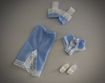Vintage outfit Fleur Lingerie (Dutch Sindy) # 1236/Otto Simon/Fleur fashion-light blue design + matching slipper