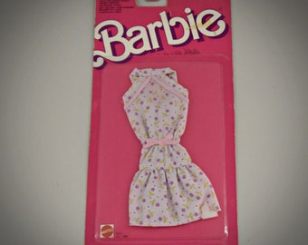 Vintage Barbie Outfit Floral Dress / Barbie fashion / #1065 / Mattel / NRFB / 1988