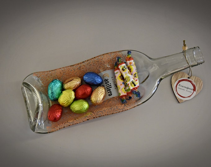 Slumped bottle/Recycled wine bottle/serving dish/aperitif dish/decoration/divided into 2 compartments