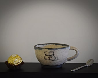 "Unique hand-turned ceramic Espresso cup/coffee cup/cup/stoneware/decal ""Lovely Bears""/signed."