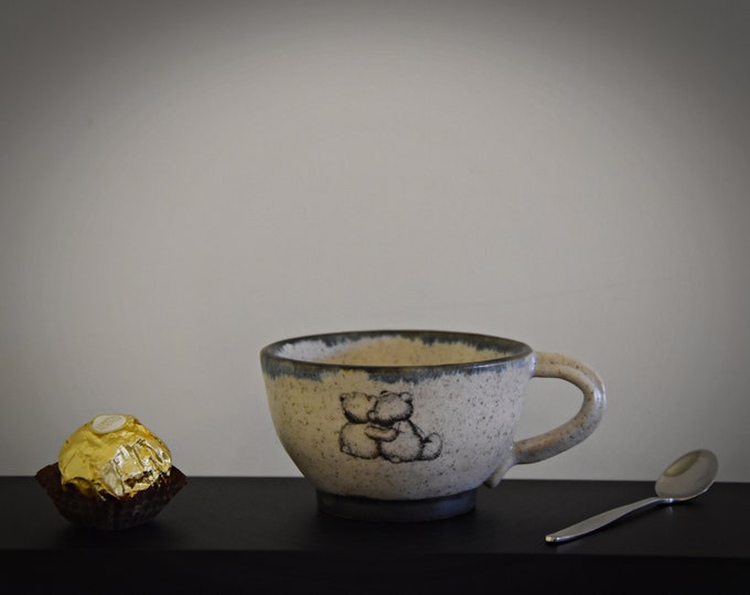 """Unique hand-turned ceramic Espresso cup/coffee cup/cup/stoneware/decal """"Lovely Bears""""/signed."""