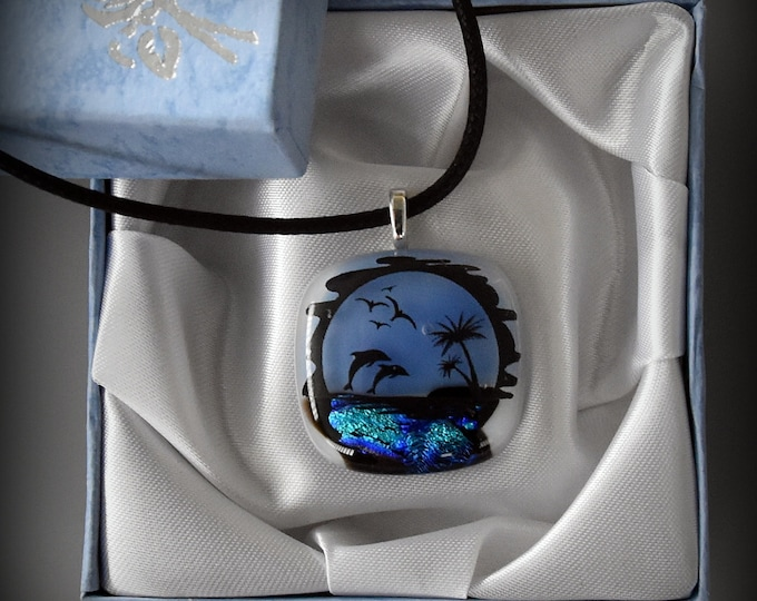 Summer dichroic glass pendant with Dolphin and palm trees decal/glass jewel